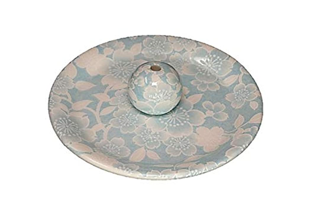 充実ブルーベル強調する9-36 桜友禅 水色 9cm香皿 お香立て お香たて 陶器 日本製 製造?直売品