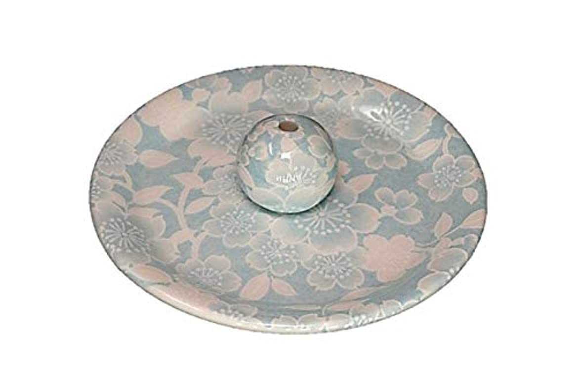 なに中毒町9-36 桜友禅 水色 9cm香皿 お香立て お香たて 陶器 日本製 製造?直売品