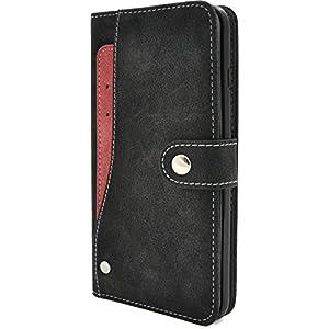 PLATA iPhone7 Plus / iPhone8 Plus ケース 手帳型 スライド カード ポケット ソフト レザー カバー アイフォン7プラス アイフォン8プラス 【 ブラック 黒 くろ black クロ 】 IP7P-6217BK