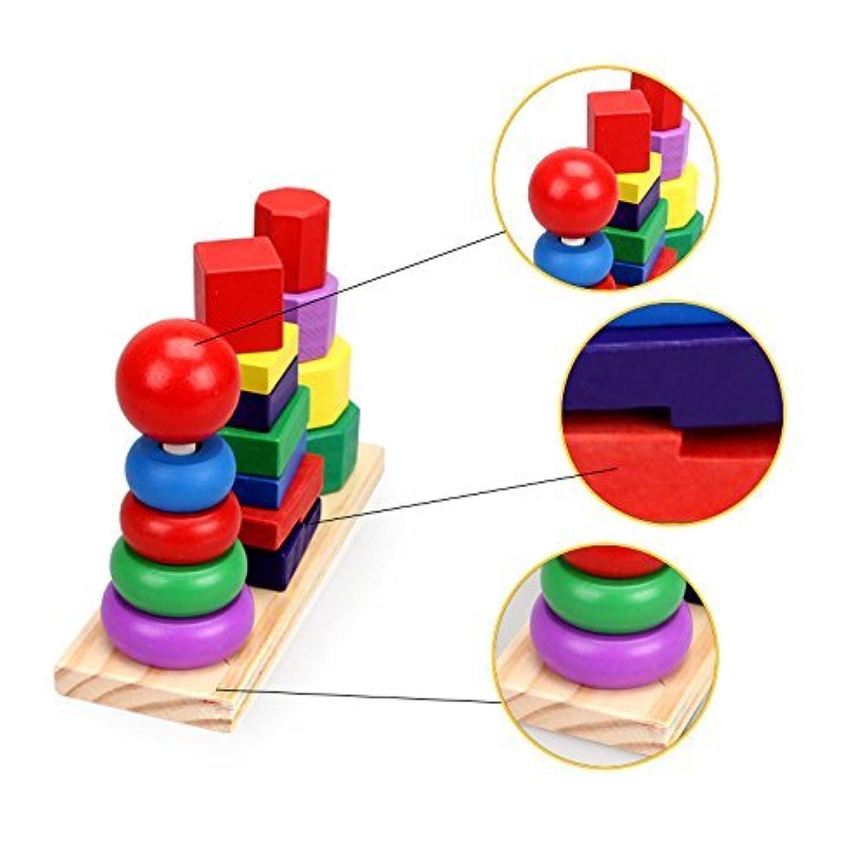 fierkegame木製ブロックスタック図形カラフル3列セットタワー