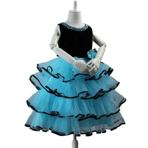 子供ドレス ブルー パープル d-0015 ティアードリボン スパンコール 子供ドレス 発表会 (サイズ140cm 肩幅28cm 胸囲72cm 胴囲68cm 身丈28cm 総丈80cm, ブルー)