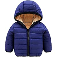 XFentech Boys Girls Coat - Long Sleeeve Padded Solid Color Zipper Hooded Winter Warm Jacket Clothes 1-7 Years