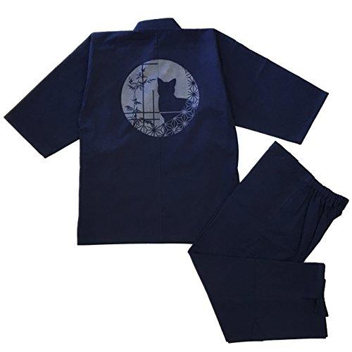 日本製 素材からこだわりました 高級 紬織柄入り作務衣
