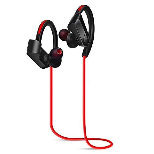 YIER Bluetooth イヤホン ブルートゥース ヘッドホン 防水 高音質 重低音 耳かけ式 bluetooth4.1 マイク付き ノイズキャンセリング ブルートゥース ヘッドセット(レッド)