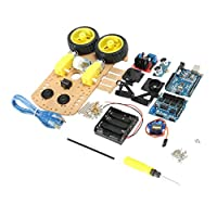 F Fityle DIY  L298N 2WD 超音波スマート トラッキング モートルロボットカーキット用 arduino用