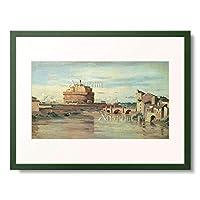 ジャン=バティスト・カミーユ・コロー Jean-Baptiste Camille Corot 「ローマのサン・タンジェロ城とテベレ川 Castel Sant」 額装アート作品