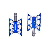 自転車用ペダル、マウンテンバイク用アルミペダル、作り付け高品質ベアリング、アルミニウム合金製(ブラック/ブルー/ゴールド/レッド/シルバー) (Color : Blue)