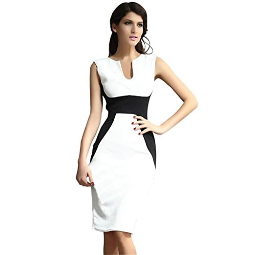 (ラボーグ)La Vogue ボディコン レディース ワンピースドレス キャバ 二次会 OL タイト 着痩せ 袖なし 2色配色 魅力ミニ丈ワンピース ホワイト