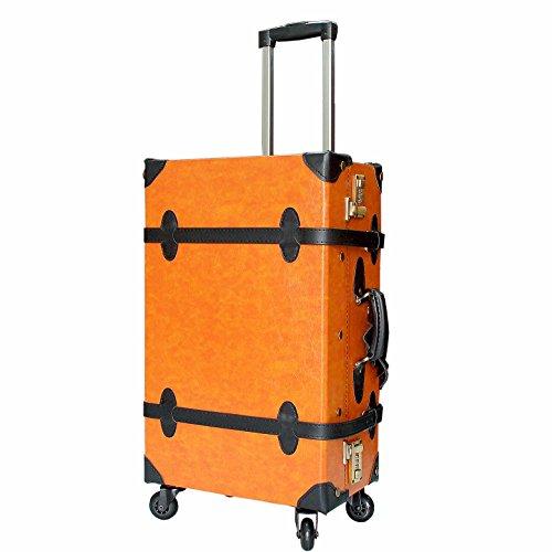 (ハナイズム)HANAismトランクキャリーケース 旅行カバン トランクボックスLサイズ21インチ4輪 (06/キャメル×コスモブラック)