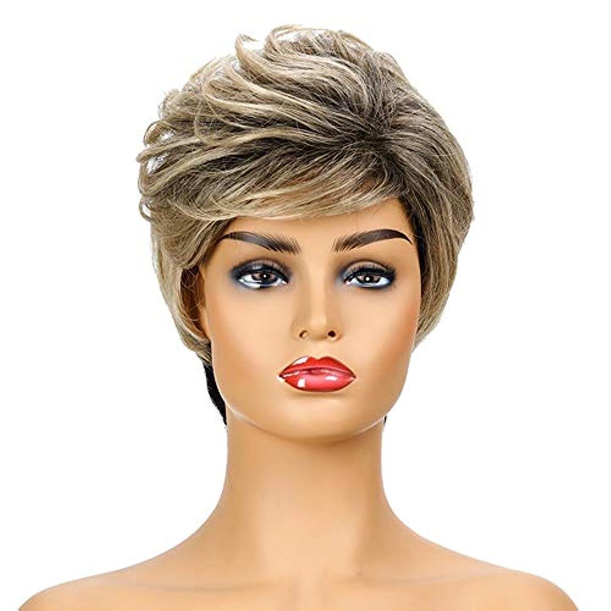 サークルアイドルアラーム女性の短いブロンドの巻き毛のかつら、女性の側部のかつら、黒人女性のための自然なかつら、合成衣装ハロウィンコスプレパーティーウィッグ(ウィッグキャップ付き)