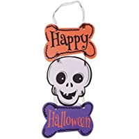 B Blesiya ハロウィーン 頭蓋骨 ぶら下げ 「Happy Halloween」 レースのロープ ボード プラーク