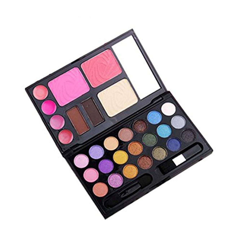 人気30色メイクアップパレット 21色アイシャドウ+4色リップカラー+2色チークカラー+1色コンシラー+2パウダーアイブロウ 鏡付き アイシャドウブラシとチークブラシ (1#)