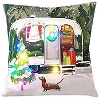WelcomeuniクリエイティブクリスマスライトLED色新しい印刷リネンスロー枕カバークッションカバーソファベッドホームデコレーション 45cm*45cm Welcomeuni _08