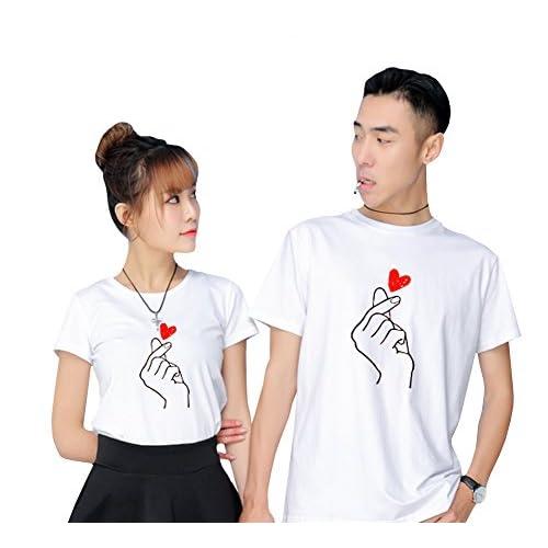 [RSWHYY] メンズ レディース ペアルック カップル 夏 学生 半袖 Tシャツ 韓国スタイル 恋人 夫婦 ココロ柄 柔らかい ゆったり 可愛い カジュアル 遊び 旅行用 ホワイト 女M