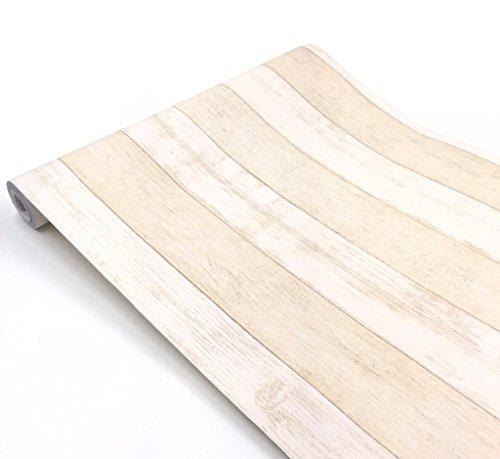 簡単 模様替え 壁紙 貼付シールタイプ 45cm×10m ウォールステッカー 防水 【貼り方説明書付】 (木目ライトベージュ板柄)