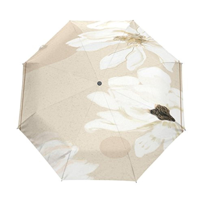 折り畳み傘 自動開閉ワンタッチ 傘 折りたたみ傘 レディース 子供 耐強風 軽量 撥水加工 超撥水 紫外線カット 晴雨兼用 収納ケース付き 花 白い