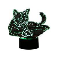 デスクスタンド 夜灯 テーブルランプ LEDナイトライト 3D lamp light 装飾ランプ 創意 ホーム飾り 3Dビジュアルの世界 三次元視覚化 イルミネーション USB充電 バッテリー給電 夜間照明 クリエイティブ インテリア 7色変更(ネコ)