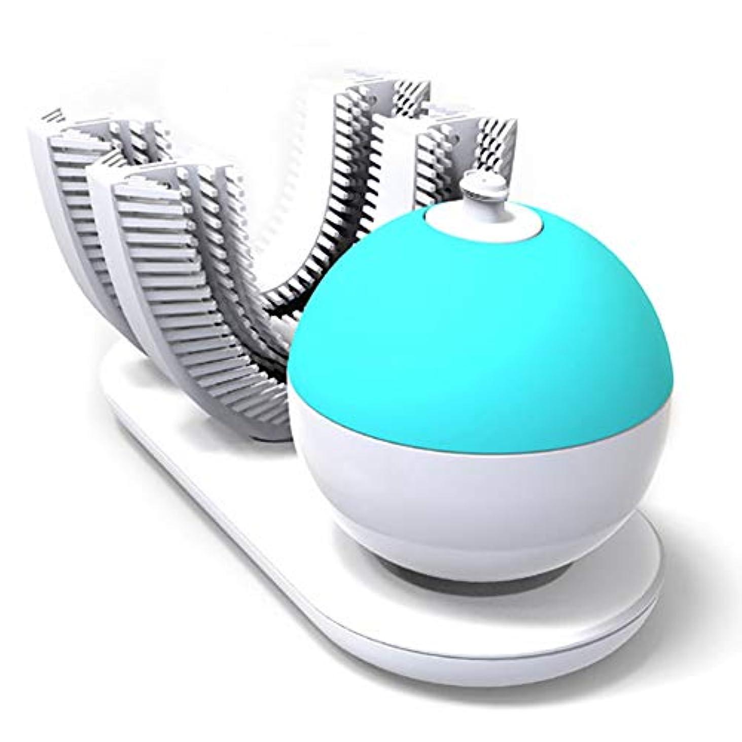 子豚デュアル韻フルオートマチック可変周波数電動歯ブラシ、自動360度U字型電動歯ブラシ、ワイヤレス充電IPX7防水自動歯ブラシ(大人用)