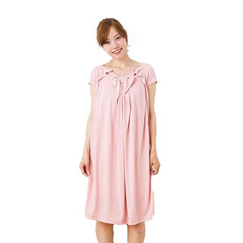 300d7f5120162 ミルフェルム 授乳服 マタニティ リボン タックワンピース 半袖 M ピンク(42)の画像