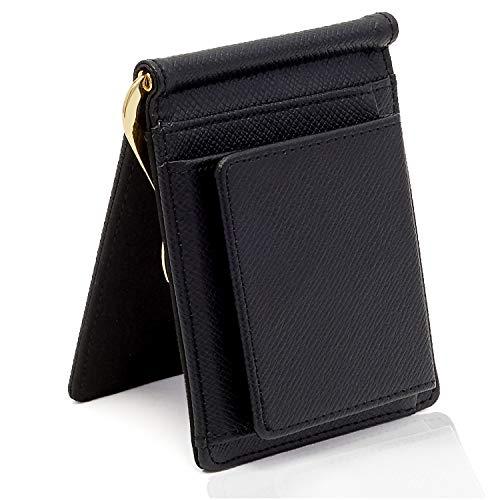 【GRAV】 マネークリップ 小銭入れ付き メンズ 財布 二つ折り (ICカードポケット 隠しポケット付き) (ブラック/ブラック)