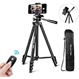 "UBeesize Phone Tripod, 50"" Adjustable Travel Video Tripod Stand with Cell Phone Mount Holder & Smartphone Bluetooth Remote, Compatible with iPhone/Android"