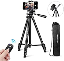 """UBeesize Phone Tripod, 50"""" Adjustable Travel Video Tripod Stand with Cell Phone Mount Holder & Smartphone Bluetooth..."""