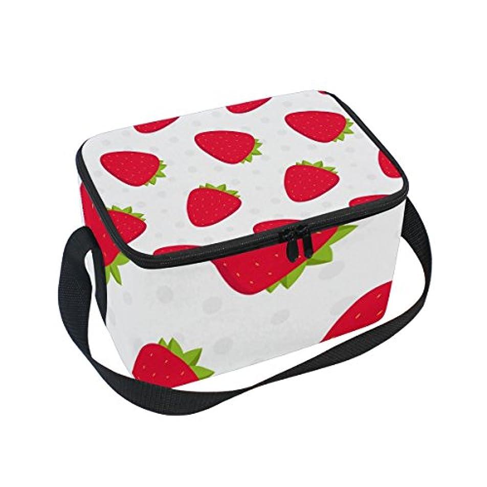 バー今宿クーラーバッグ クーラーボックス ソフトクーラ 冷蔵ボックス キャンプ用品  イチゴ柄 白背景 保冷保温 大容量 肩掛け お花見 アウトドア
