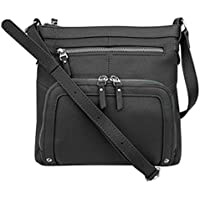 SILVERFEVER Genuine Leather 2 Zip Crossbody Traveler Handbag Purse