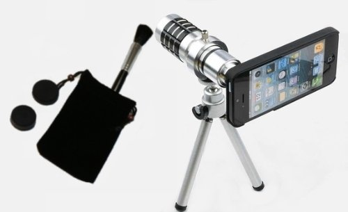 iPhone5 iPhone5S 12倍望遠レンズ (単焦点) 撮影セット 【 レンズ レンズブラシ レンズキャップ 三脚 iPhone用レンズアタッチメントつきケース 三脚 クリーニングクロス 収納袋 付 「 J_C_T_Y オリジナルパッケージ 」 】 (シルバー)