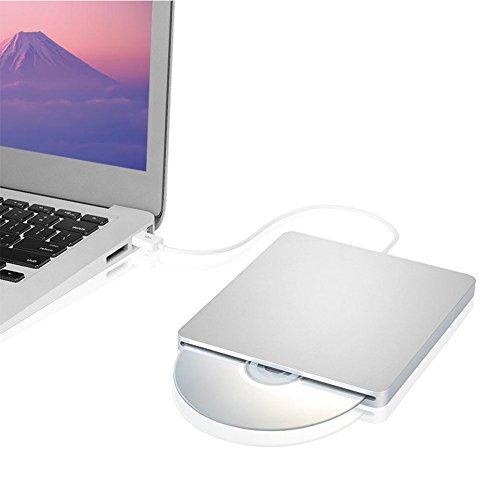TSECO ポータブルDVDドライブ 光学式外付けDVDドライブ CDドライブ PC外付けドライブ DVDプレーヤー Windows Linux Mac OS三対応 超薄型 スリムタイプ USB2.0 ノートパソコン ラップトップPC シルバー