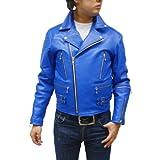 UK ダブル ライダース レザージャケット メンズ 革ジャン 皮ジャン バイクウェア 3566 (L, ブルー)