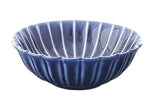 小兵さんちの食卓・ぎやまん陶 菊形浅小鉢 12cmx高さ4cm 茄子紺ブルー