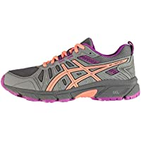 Official Brand Asics Venture 7 Junior Trail Shoes Girls Trainers Running Grey/Coral Footwear