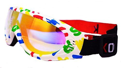 【RedFrogs】子供用 幼児 ゴーグル キッズモデル 雪遊び スノーゴーグル ファッションゴーグル キッズ ロゴ入り収納布ポーチ付き (A-アルファベット柄)