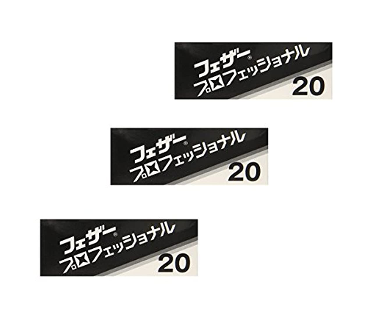 黄ばむ移動する【3個セット】 フェザー プロフェッショナルブレイド 20枚入 PB-20