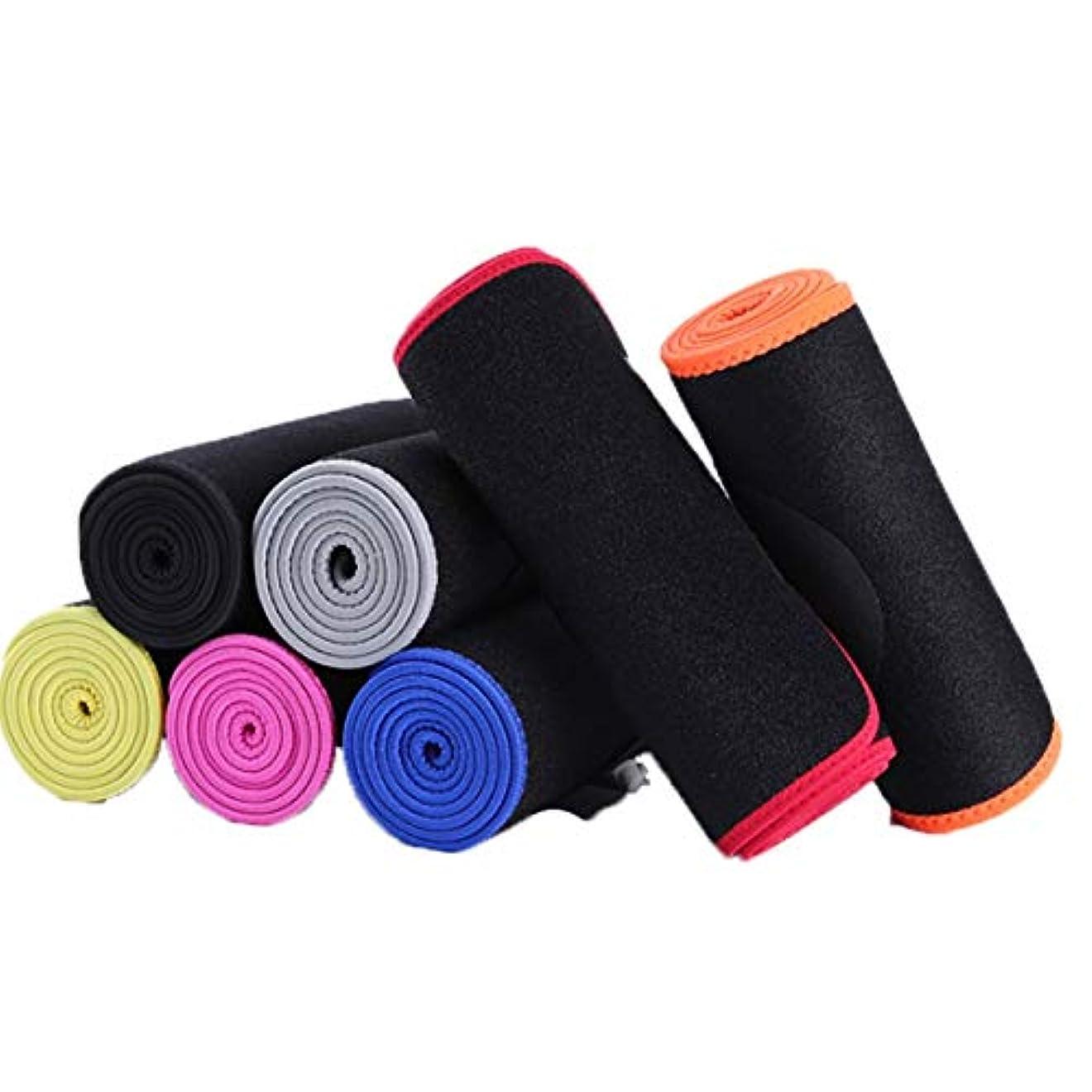 発汗ベルトスポーツ汗ベルトウエストトレーナーフィットネス腹部トレーニング腹筋腹部汗バンドボディ(ブラック&ブルー)