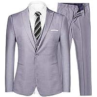 iClosam Men's Slim Fit 3 Piece Suit Two Button Blazer Tux Vest & Trousers