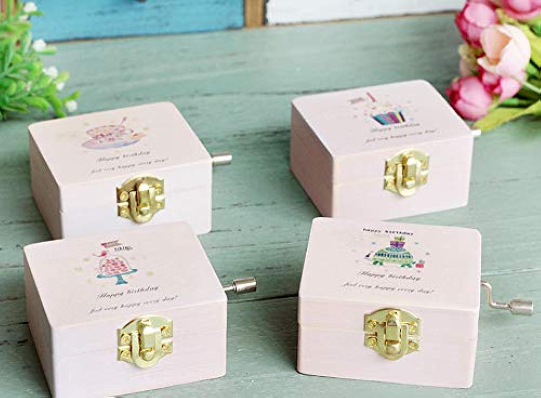木製のピンクのケーキ手作りのオルゴールオルゴールオルゴール音楽ベルの装飾学生ギフト