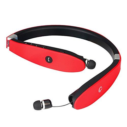 BEST Bluetooth 4.1スポーツイヤホン ブルートゥース イヤホンiphone7対応 白黒赤靑4色 ネックバンド型 長時間再生 CVC6.0ノイズキャンセルテクノロジー搭載 防水 防滴 内蔵式マイク ヘッドフォン iPhone iPad Android などの各機種に対応(赤)