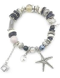 MALDON Hand Made Crystal Shell Strand Bracelets,Stretch Beaded Starfish Charm Bracelet for Women,Girl,Wife