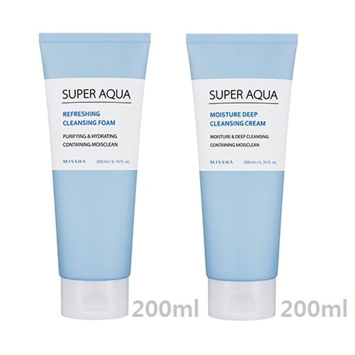彼は省虐殺[1+1] MISSHA Super Aqua Cleansing Cream + Foam/ミシャ スーパー アクア クレンジング クリーム + フォーム [並行輸入品]