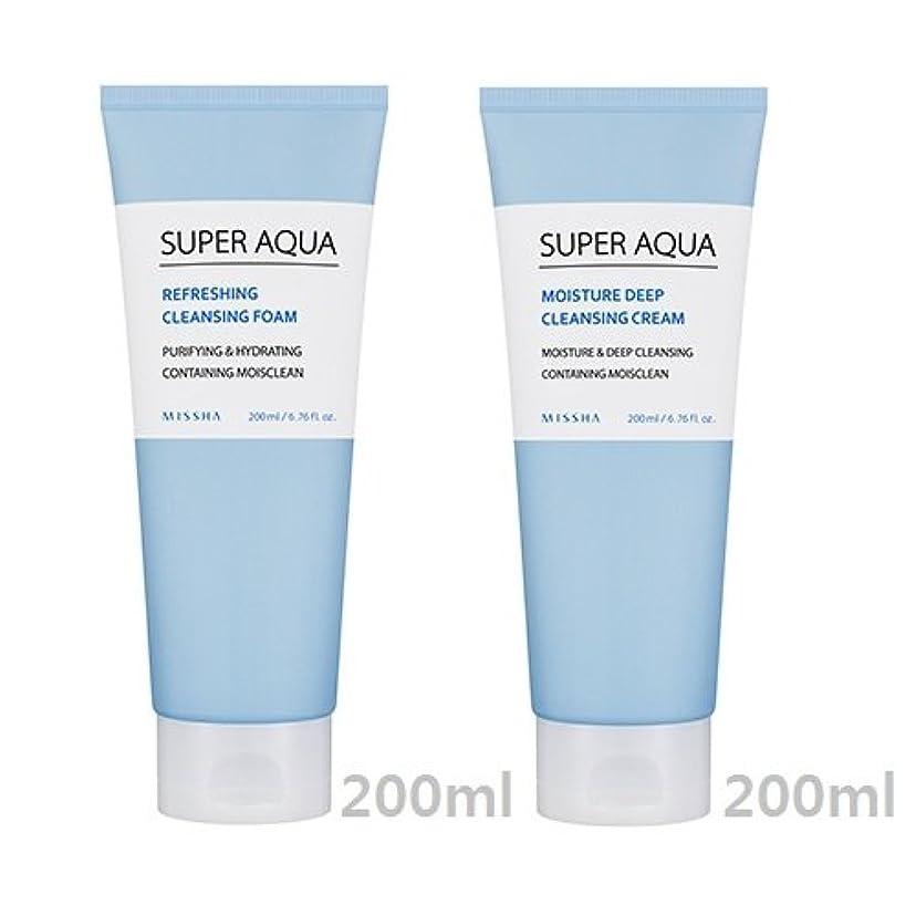羊のターゲットまだ[1+1] MISSHA Super Aqua Cleansing Cream + Foam/ミシャ スーパー アクア クレンジング クリーム + フォーム [並行輸入品]