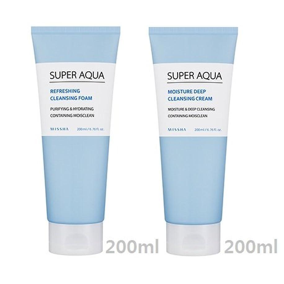 先住民飾る交流する[1+1] MISSHA Super Aqua Cleansing Cream + Foam/ミシャ スーパー アクア クレンジング クリーム + フォーム [並行輸入品]