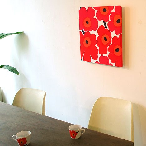 marimekko マリメッコファブリックアートパネル UNIKKO/RED 500×500mm(類語/ファブリックボード,ファブリックパネル)