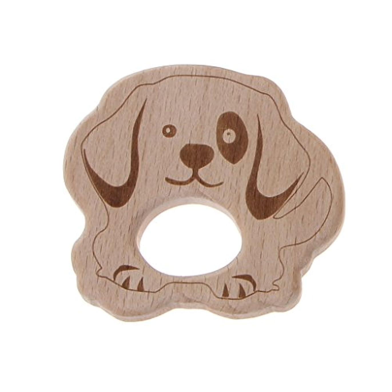 キノコ下にレンダーランドウッドティーザー動物ユーカリティーザー赤ちゃん看護玩具かむ玩具歯が生えるガラガラおもちゃ - 子犬