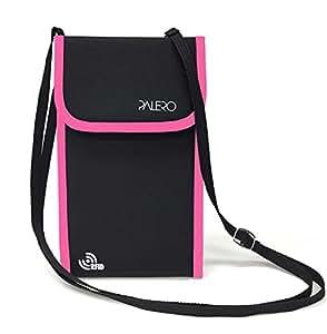 【PALERO・パレロ】A4三つ折りが入る パスポートケース トラベルポーチ 貴重品入れ 軽量 撥水 スキミング防止 RFID (黒+ピンク)