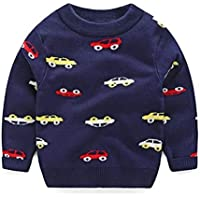 Kids Clothing Car Print Long Sleeve Pullover Autumn Winter Children Sweatshirt, Height:110cm(Grey) Boys Clothing (Color : Navy Blue)