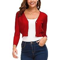 EXCHIC Women's Trendy Bolero Shrug Open Front Cropped Cardigan 3/4 Sleeves Short Coat/Sweater