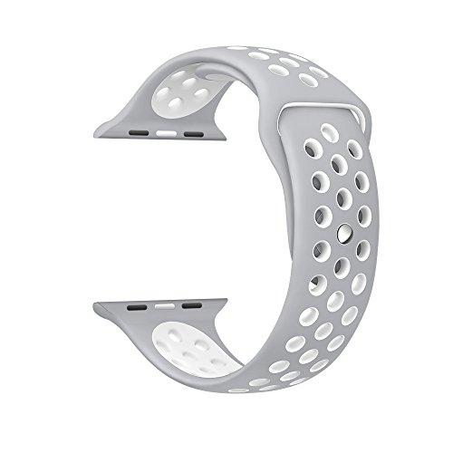 Kartice Apple Watch Nike +/Apple Watch/Apple Watch Series 2 バンド ソフトシリコンバンド スポーツバンド シリコンアダプター付き(38mm, 銀+白)