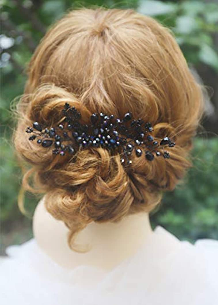 Missgrace Women Black Crystal Hair Comb Special Occasion Headpiece Black Women Hair Accessories [並行輸入品]